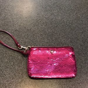 Magenta pink Coach Poppy sequin  wristlet